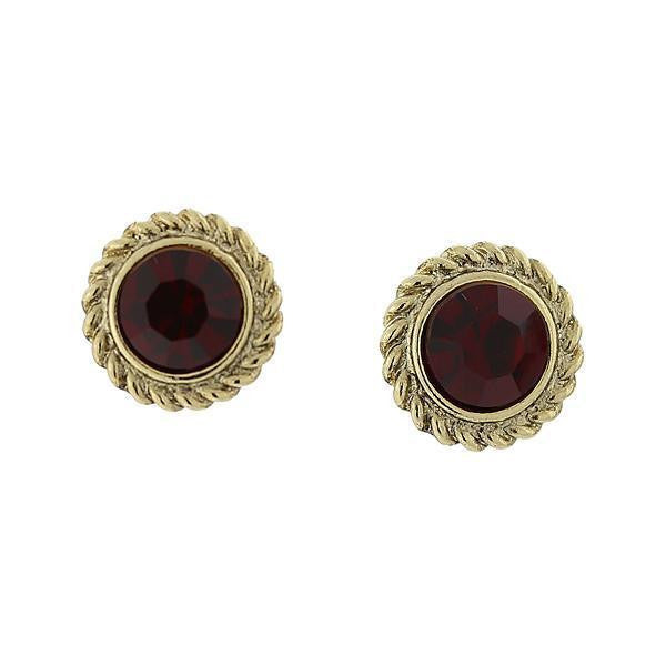 Gold Tone Siam Red Round Button Earrings