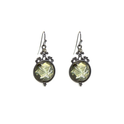 Black Tone Smoky Topaz Color Crystal Flower Drop Earrings