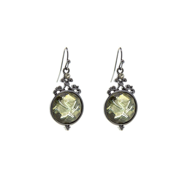 Black-Tone Smoky Topaz Color Crystal Flower Drop Earrings
