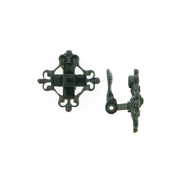 Black-Tone Black Queens Button Clip On Earrings