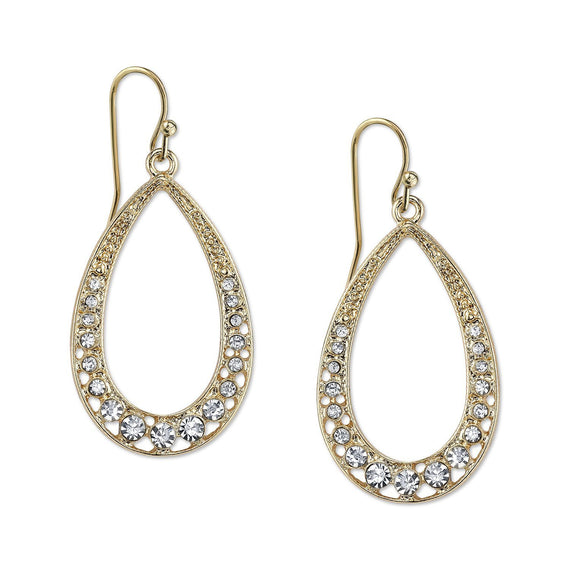 2028 Gold Elegance Gold Tone Crystal Open Faced Pear Shaped Hoop Earrings