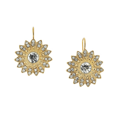 Gold Tone Crystal Sunburst Drop Earrings