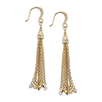 Gold Tone Crystal And Hematite Color Accent Tassle Earrings