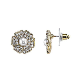 Gold-Tone Clear Crystal and Simulated Pearl Flower Button Earrings