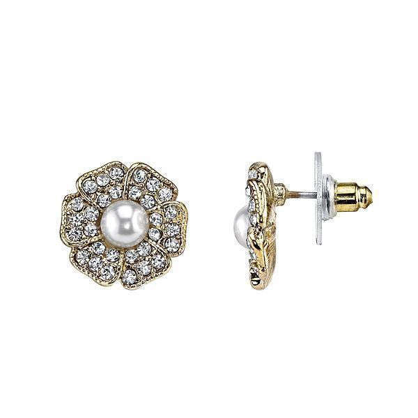 Gold-Tone Clear Crystal and Costume Pearl Flower Button Earrings