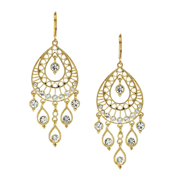 Bridal Crystal Filigree Chandelier Earrings