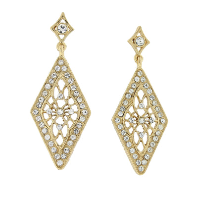 Gold Tone Crystal Diamond Shape Filigree Drop Earrings