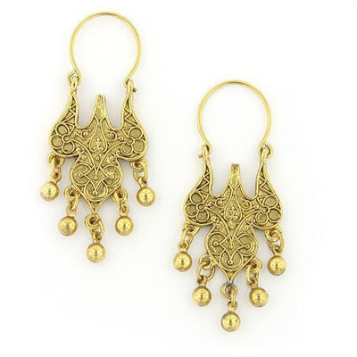 Gold Tone Islamic Wire Hoop Drop Earrings