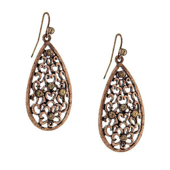 Filigree Copper Tone Crystal Filigree Pear Shaped Drop Earrings