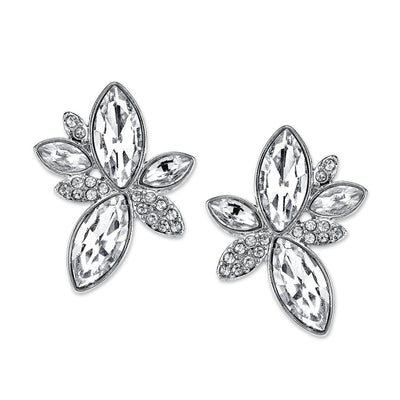 Silver Tone Crystal Navette Leaf Button Earrings