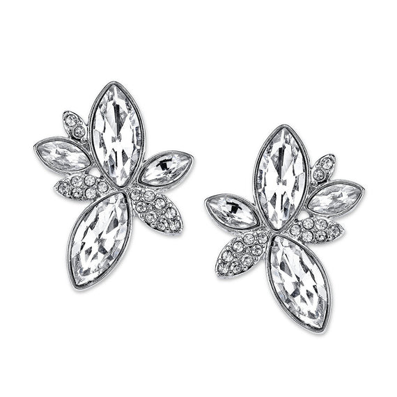 Silver-Tone Crystal Navette Leaf Button Earrings