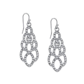 Silver-Tone Crystal Pave Filigree Drop Earrings