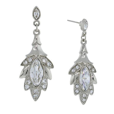 Silver Tone Genuine Swarovski Elements Navette Leaf Drop Earrings
