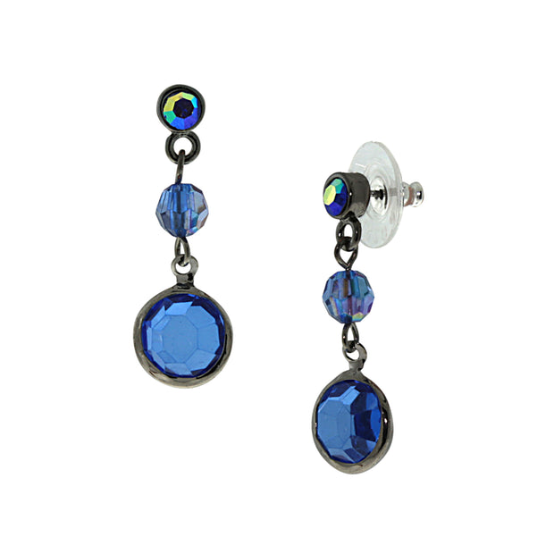 Black-Tone Sapphire Blue Ab Drop Earrings