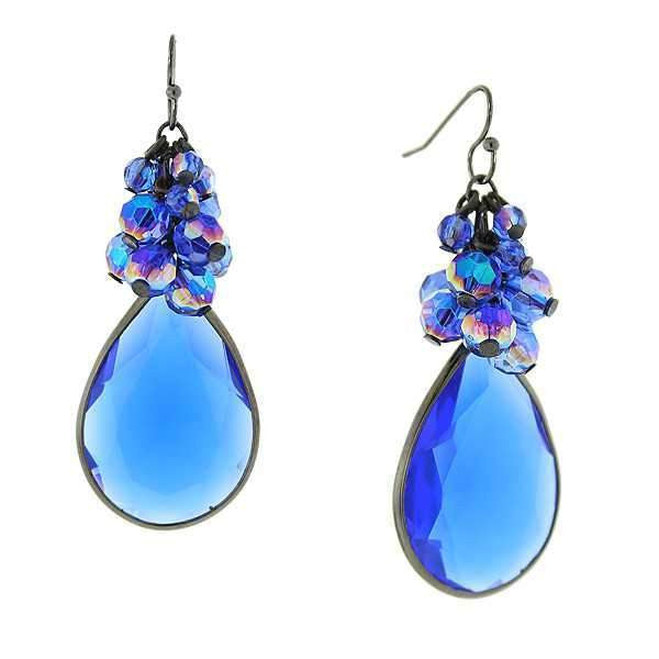 Black-Tone Sapphire Blue Ab Large Pearshape Beaded Cluster Drop Earrings