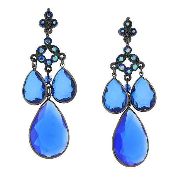 Black Tone Sapphire Blue Ab Pearshape Chandelier Drop Earrings