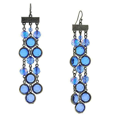 Black-Tone Sapphire Blue AB Triple Drop Linear Earrings