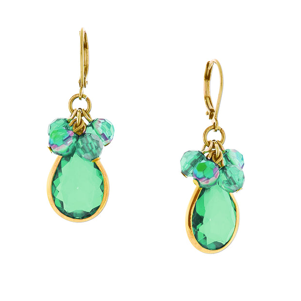 Gold Tone Emerald Green Ab Crystal Pearshape Drop Earrings