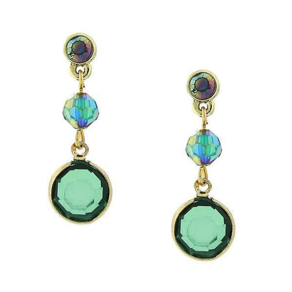 Gold-Tone Emerald Green Color AB Drop Earrings