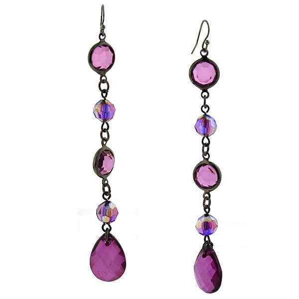 Black-Tone Amethyst Purple Ab Linear Drop Earrings