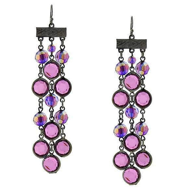 Black-Tone Amethyst Ab Triple Drop Linear Earrings