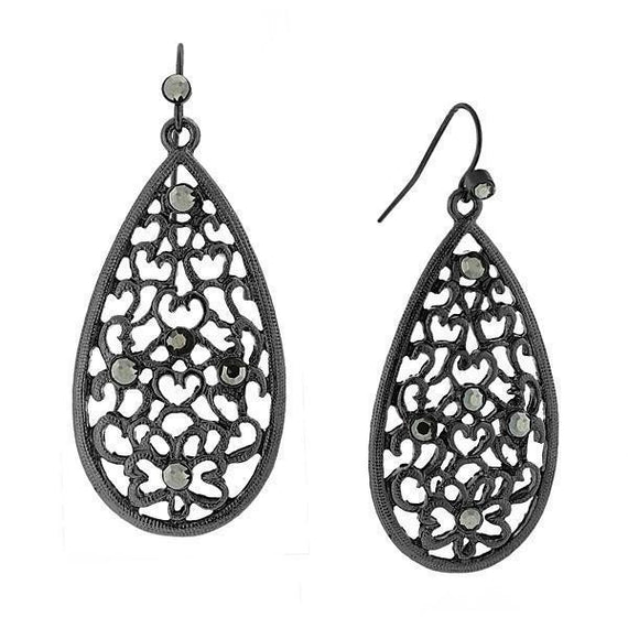 Black-Tone Hematite Color Filigree Pearshape Drop Earrings