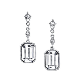 Fashion Jewelry - 2028 Elegance Silver Tone Genuine Swarovski Crystal Octagon Drop Earrings
