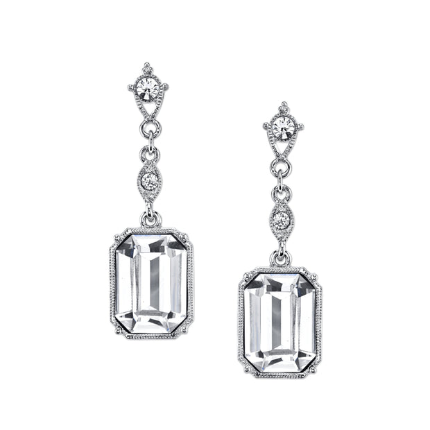 Silver-Tone Genuine Swarovski Elements Octagon Drop Earrings