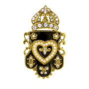 Gold-Tone Black Enamel Crystal And Costume Pearl Heart And Crown Pin