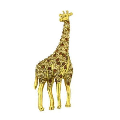 Gold Tone Giraffe Pin With Topaz Color Swarovski Crystals
