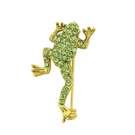 Gold-Tone Green Swarovski Crystal Frog Pin