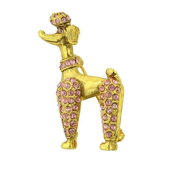 Gold Tone Poodle Pin With Pink Swarovski Crystals