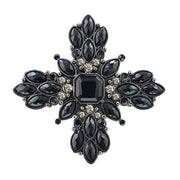 Black With Black Diamond Crystal Star Pin