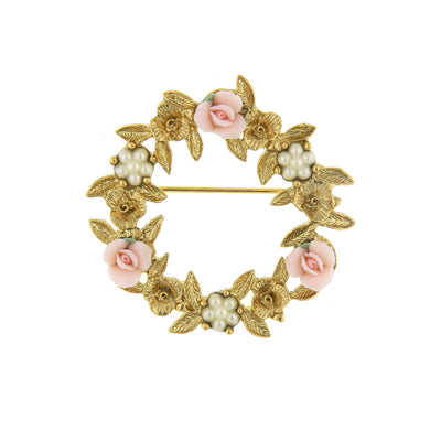 Gold Tone Pink Porcelain Rose Wreath Brooch