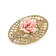 Gold Tone Pink Porcelain Rose Filigree Brooch