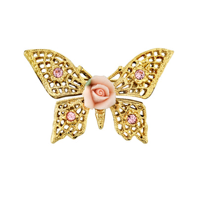 Pink Crystal And Porcelain Rose Butterfly Brooch