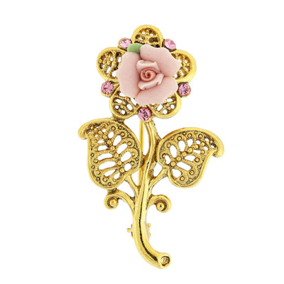 Gold Tone Pink Crystal And Porcelain Rose Brooch