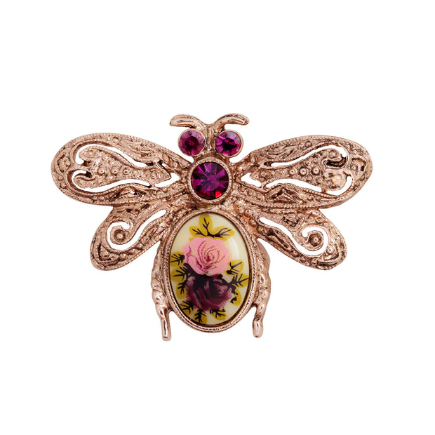 Rose Gold-Tone Purple Crystal Flower Insect Brooch