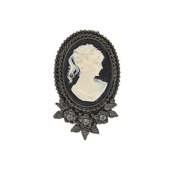 Black-Tone Black Diamond Color Crystal Cameo Brooch