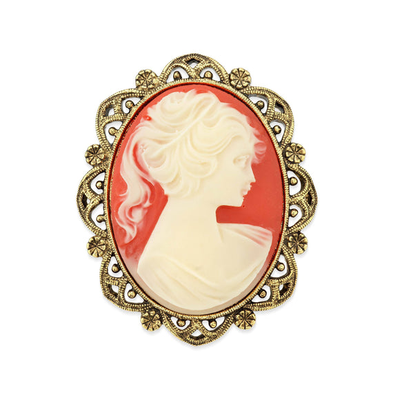 Gold Tone Simulated Carnelian Cameo Oval Brooch