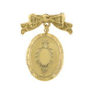Vintage Style Brass Tone Bow Oval Locket Pin
