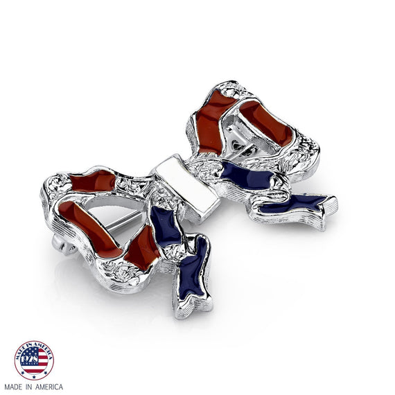 Silver-Tone Red White and Blue Bow Pin