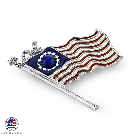 Silver-Tone Red White and Blue Flag Pin