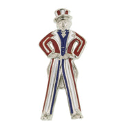 Silver-Tone Red White And Blue Uncle Sam Pin