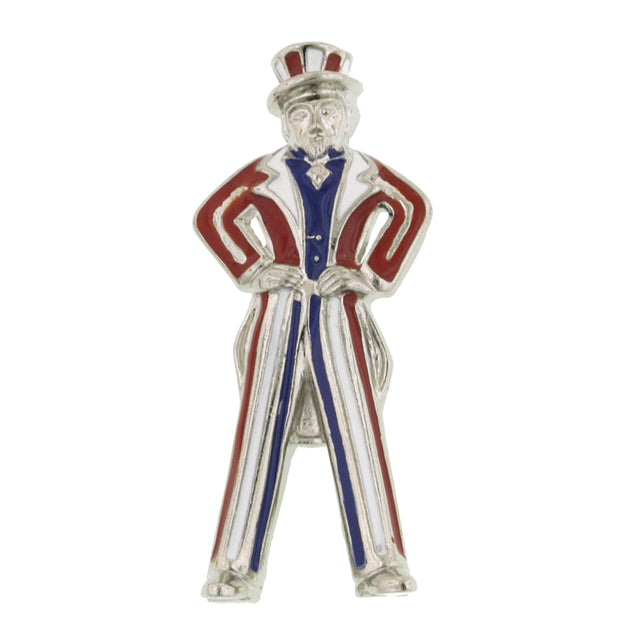 Silver Tone Red White And Blue Uncle Sam Pin