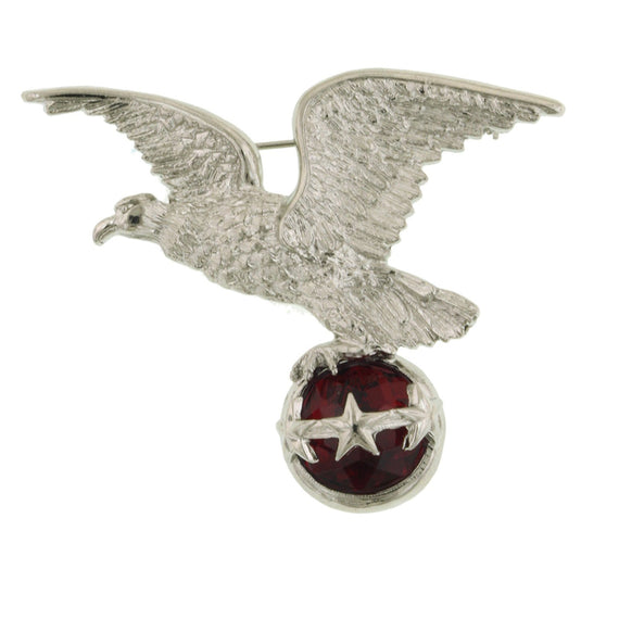 Silver-Tone and Red Eagle Pin