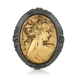 Fashion Jewelry - Antiquities Couture Black and Gold-Tone Cameo Pin