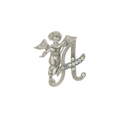 Silver Tone Aurore Boreale Crystal Angel Initial Pin A