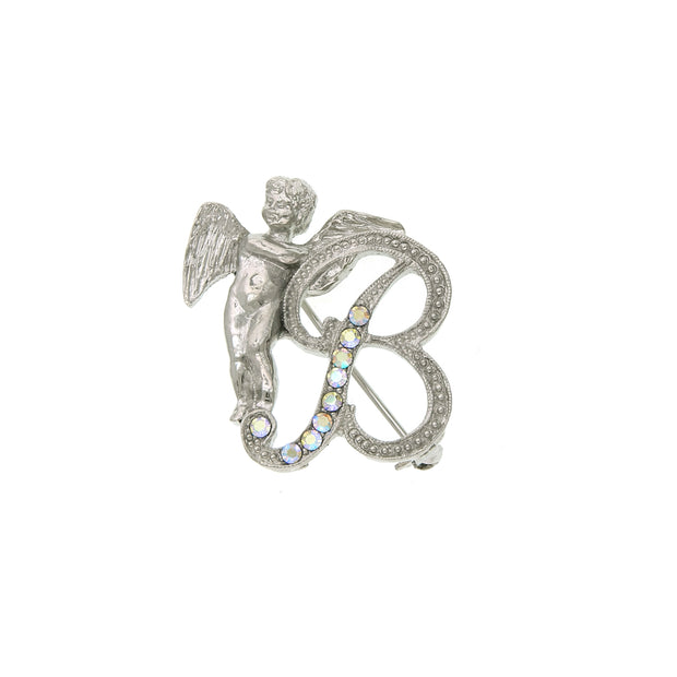 Silver Tone Aurore Boreale Crystal Angel Initial Pin D