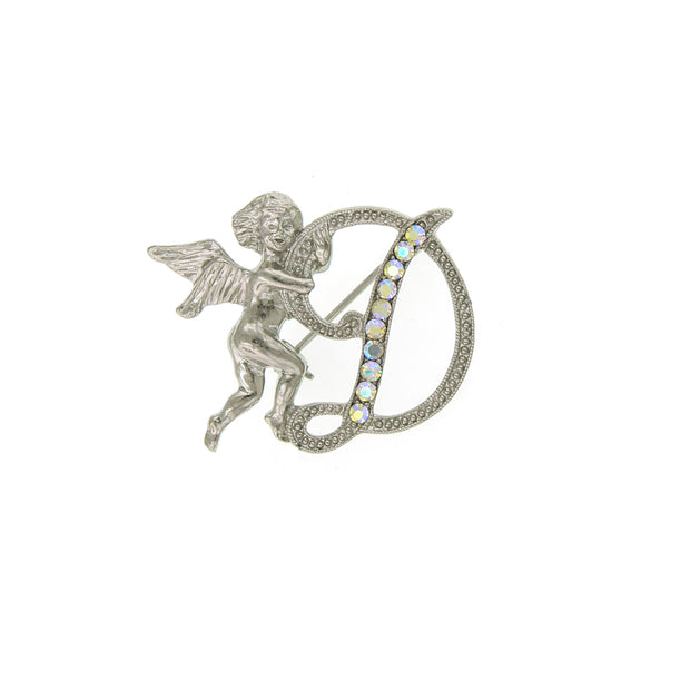 Silver Tone Aurore Boreale Crystal Angel Initial Pin H